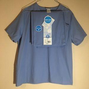 NWT Sb Scrubs Unisex Blue Scrub Set, Top & Pants S